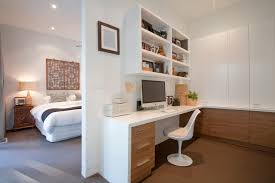 modern study desk home office contemporary with timber veneer white interiors built in study built in study furniture