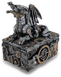 <b>Antique</b> Finish <b>Steampunk</b> Dragon Jewelry Box <b>Vintage</b> Cyborg ...