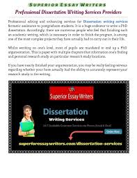 Professional Dissertation Writing Services Providers SlideShare Superior Essay Writers Professional Dissertation Writing Services Providers Professional editing and enhancing services fo