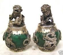 <b>1 Pair HANDWORK tibet</b> silver Green Jade Carving Figures Dragon ...