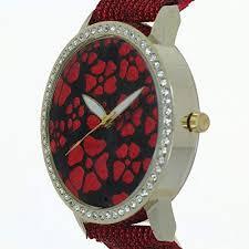 Vinca Major <b>Flower Printed</b> Dial Design Lady <b>Watches</b> Rhinestone ...
