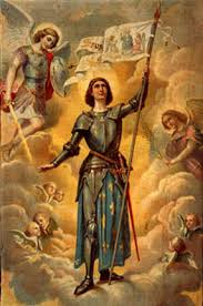 Engraving of Joan of Arc as a young woman in Domremy