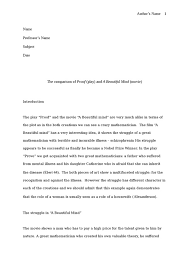 comparison of proof  play  and a beautiful mind  movie  literture    comparison of proof  play  and a beautiful mind  movie  essay example