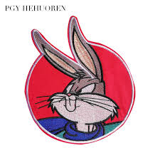 PGY Cartoon rabbit embroidery round clothing badge patch sewing ...