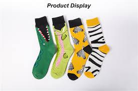 2019 Fashion color zebra stripes crocodiles Creative Art Socks Men ...