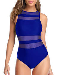 Holipick <b>Women</b> One Piece High Neck <b>Swimsuits Striped</b> Mesh ...