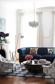 blue sofas living room: lovely living room with blue velvet sofa