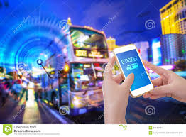 hand holding mobile phone e ticket word stock photo image hand holding mobile phone e ticket word