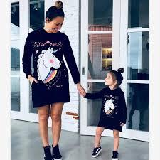 <b>Mother Daughter</b> Unicorn Print Sweatshirts Family Matching <b>Cute</b> ...