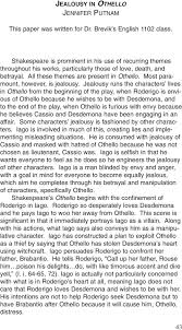 jealousy in othello jennifer putnam pdf most paramount however is jealousy