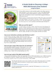 nsse students parents a pocket guide to choosing a college nsse 2016 answers from students