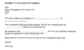 two weeks notice letters resignation letter templates two weeks notice 17