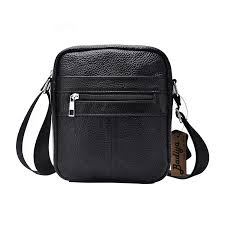 <b>Genuine Cow Leather Men</b> Business Messenger Bag Zipper Design ...