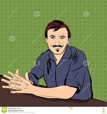 successful job interview in employment bright and colorful vector successful job interview in employment bright and colorful vector pop art style