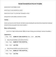 nursing resume template –   free samples  examples  format    sample graduate nurse resume template