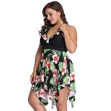 <b>Women's Plus Size</b> Swimwear Floral Printed Swimsuit Halter ...