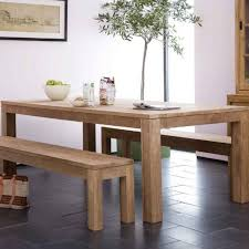 room simple dining sets: simple rectangular teak wood dining table and benches designed with square legs on the black flooring