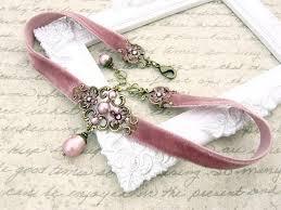 <b>Dusty Pink</b> Velvet Choker Antique Pink Swarovski Pearl   Etsy ...