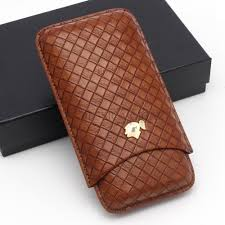 <b>COHIBA</b> Gadgets New <b>Brown</b> Woven Pattern <b>Leather Cigar</b> Case 2 ...