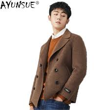AYUNSUE New <b>Double sided Wool</b> Coat Men Double Breasted ...