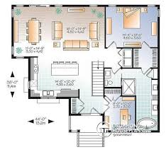 House plan W  V detail from DrummondHousePlans com    st level Affordable   bedroom Bungalow  large master suite  home office  large