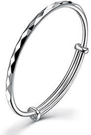 GUIJI Woman Silver Solid Bracelet <b>999 Sterling Silver</b> Bangle Size ...