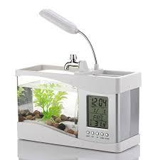 flexzion usb desktop aquarium mini fish tank with office desk aquarium
