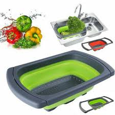 Over-the-<b>Sink Collapsible</b> Colander <b>Silicone</b> Kitchen <b>Retractable</b> ...