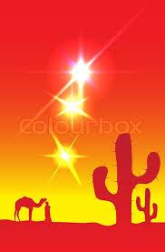Desert sun, camel, man and