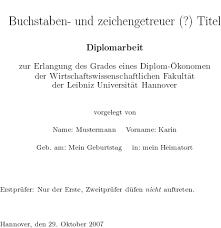 Titelblatt Diplomarbeit