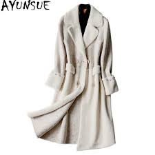 AYUNSUE <b>Fashion Double sided</b> Wool Coat Womans Belts <b>2019</b> ...