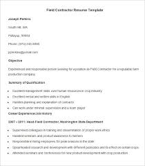 agriculture resume template –    free samples  examples  format    field contractor resume template