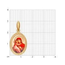 <b>Золотая</b> нательная <b>иконка</b> «<b>Икона Божьей</b> Матери <b>Владимирская</b>