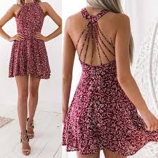 New Fashion <b>Women's Sexy Chiffon</b> Mini Dress Summer Halter ...