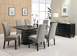 room table displays coaster set driftwood: stanton contemporary  pc black and gray dining table set by coaster
