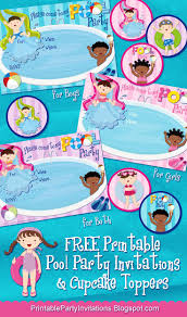 best ideas about party printables beach party printable party invitations summer pool party invitations and cupcake topper templates