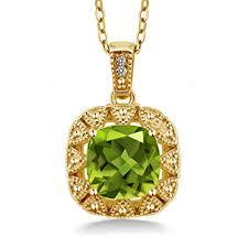 Gem Stone King 2.46 Ct Green Peridot White ... - Amazon.com