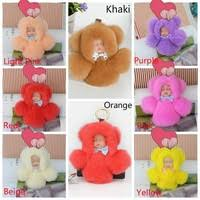 15cm Fashion Real Rabbit Fur Sleeping Doll Keychain Key ... - Wish