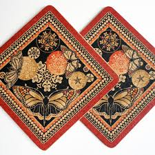 two red  black butterfly square cork placemats  decorque