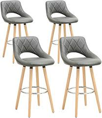 WOLTU Breakfast Kitchen Counter <b>Bar Stools</b> Set of <b>4 pcs</b> Faux ...