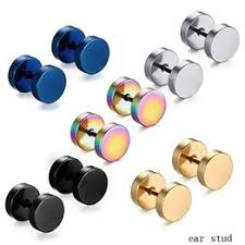 1 Pair 316L Stainless Steel Earrings Double Sided 8mm ... - Vova