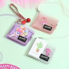 Transparent PVC Dompet Kartu Wanita Folding <b>Lanyard Glitter</b> ...
