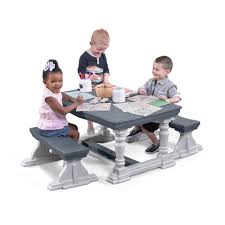 3 <b>Piece</b> Farmhouse Table & <b>Bench Set</b> | Kids Table & Chairs | Step2