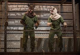 stage and cinema theater review animal farm steppenwolf theatre napoleon blake montgomery and snowball sean parris negotiate leadership in steppenwolf theatre