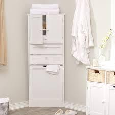 thin white linen cabinet bathroom