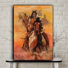 <b>Abstract</b> Native <b>Indian Feather</b> Horse Oil Painting on Canvas ...