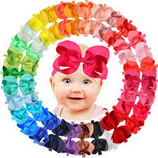30 Colors 6 inch Hair Bows Baby Girls headbands Grosgrain ...