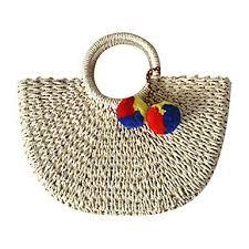 Hand-<b>woven Straw</b> Large Hobo <b>Bag</b> for Women <b>Round</b> Handle Ring