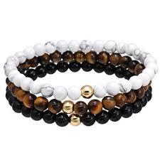 <b>Natural Stone</b> Black Charm Bracelet Tiger Eye Round <b>Bead</b> - <b>White</b> ...