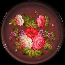 Zhostovo round hand-painted floral tray | жостово <b>подносы</b> ...